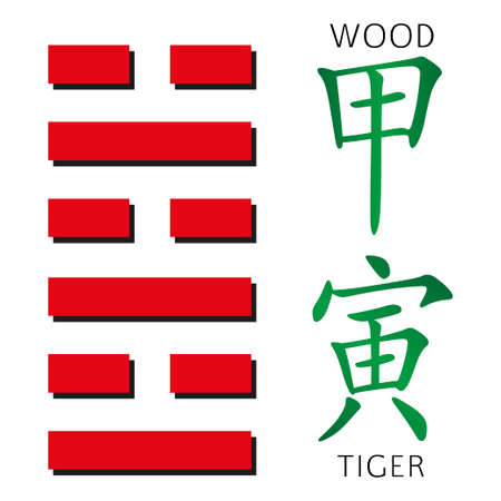 cosmology: Symbol of i ching hexagram from chinese hieroglyphs. Translation of 12 zodiac feng shui signs hieroglyphs- wood and tiger. Illustration