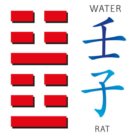 ching: Symbol of i ching hexagram from chinese hieroglyphs. Translation of 12 zodiac feng shui signs hieroglyphs- water and rat.