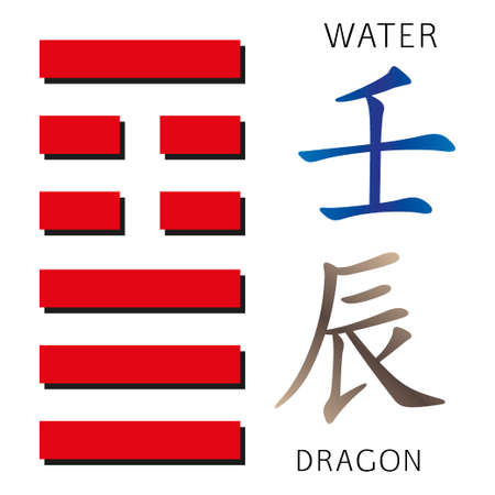 hexagram: Symbol of i ching hexagram from chinese hieroglyphs. Translation of 12 zodiac feng shui signs hieroglyphs- water and dragon.