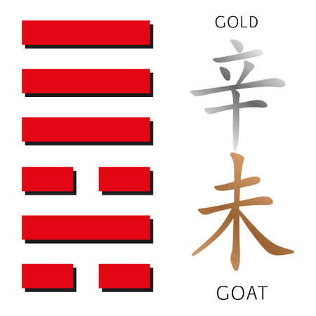 gua: Symbol of i ching hexagram from chinese hieroglyphs. Translation of 12 zodiac feng shui signs hieroglyphs- gold and goat. Stock Photo