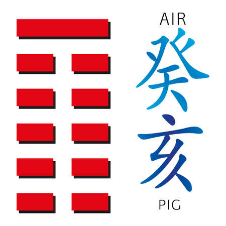 gua: Symbol of i ching hexagram from chinese hieroglyphs. Translation of 12 zodiac feng shui signs hieroglyphs- air and pig. Stock Photo