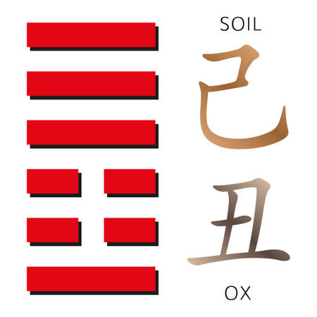 hexagram: Symbol of i ching hexagram from chinese hieroglyphs. Translation of 12 zodiac feng shui signs hieroglyphs- soil and ox. Stock Photo