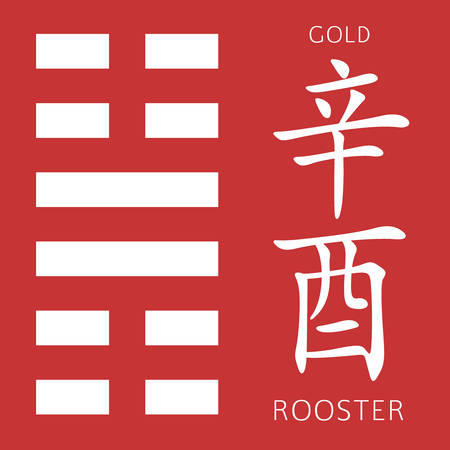 cosmology: Symbol of i ching hexagram from chinese hieroglyphs. Translation of 12 zodiac feng shui signs hieroglyphs- gold and rooster.