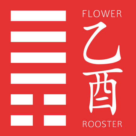 hexagram: Symbol of i ching hexagram from chinese hieroglyphs. Translation of 12 zodiac feng shui signs hieroglyphs- flower and rooster. Illustration