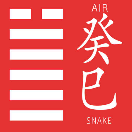 gua: Symbol of i ching hexagram from chinese hieroglyphs. Translation of 12 zodiac feng shui signs hieroglyphs- air and snake. Illustration