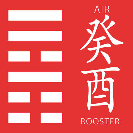 ching: Symbol of i ching hexagram from chinese hieroglyphs. Translation of 12 zodiac feng shui signs hieroglyphs- air and rooster.