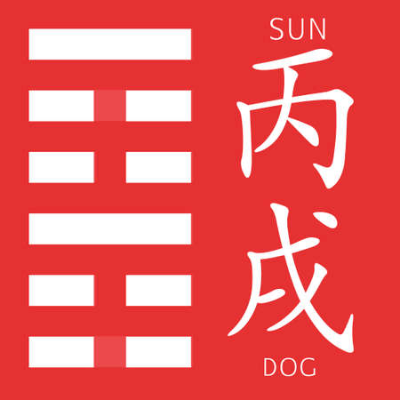 gua: Symbol of i ching hexagram from chinese hieroglyphs. Translation of 12 zodiac feng shui signs hieroglyphs- sun and dog.