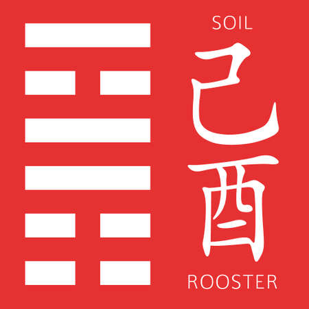 ching: Symbol of i ching hexagram from chinese hieroglyphs. Translation of 12 zodiac feng shui signs hieroglyphs- soil and rooster. Illustration