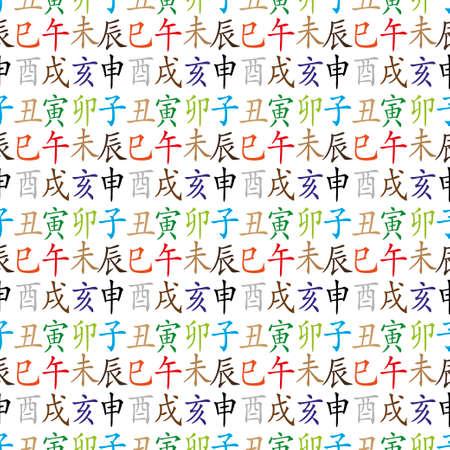 snake calligraphy: Set of chinese feng shui hieroglyphs seamless pattern. Translation of 12 zodiac animals, feng shui signs hieroglyph- Rat, Ox, Tiger, Rabbit, Dragon, Snake, Horse, Goat, Monkey, Rooster, Dog, Pig