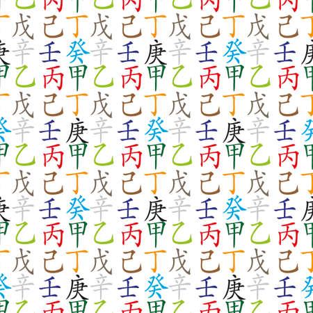 feng: Set of chinese feng shui hieroglyphs seamless pattern. Translation of 10 zodiac stems, feng shui signs hieroglyph-wood, flower, sun, fire, mountain, soil, metal, gold, sea, air.