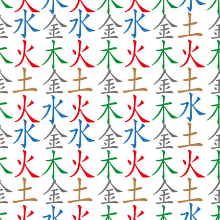 wood fire: Five Feng Shui Elements seamless pattern - Chinese Wu Xing symbols. Translation of chinese hieroglyphs- wood, fire, earth, metal, water. Illustration