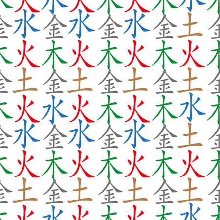 Five Feng Shui Elements seamless pattern - Chinese Wu Xing symbols. Translation of chinese hieroglyphs- wood, fire, earth, metal, water. Illustration