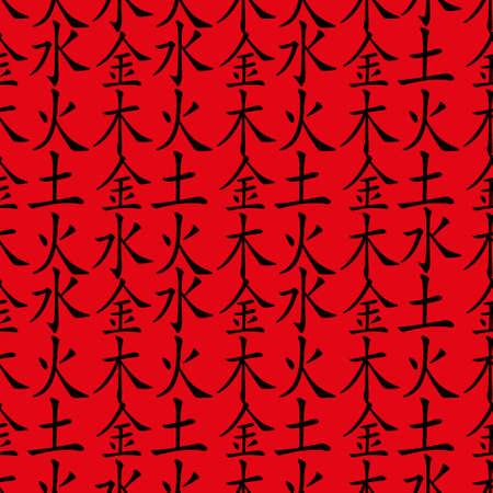wu: Five Feng Shui Elements seamless pattern - Chinese Wu Xing symbols. Translation of chinese hieroglyphs- wood, fire, earth, metal, water. Illustration