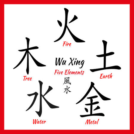 traditional chinese medicine: Five Feng Shui Elements Set - Chinese Wu Xing symbols. Translation of chinese hieroglyphs- wood, fire, earth, metal, water. Illustration
