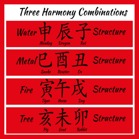 combinations: Chinese feng shui horoscope letters. Ba zi Combinations. Translation of 12 zodiac animals, feng shui signs hieroglyph- Rat, Ox, Tiger, Rabbit, Dragon, Snake, Horse, Goat, Monkey, Rooster, Dog, Pig
