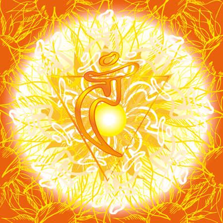 vishuddha: Chakra Vishuddha icon, ayurvedic symbol, flower pattern. 21 june. World yoga Day. International yoga day.