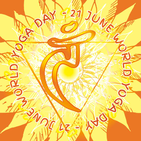 Chakra Vishuddha icon, ayurvedic symbol, flower pattern. 21 june. World yoga Day. International yoga day.