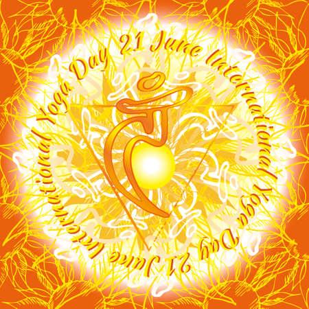 swadhisthana: Chakra Vishuddha icon, ayurvedic symbol, flower pattern. 21 june. World yoga Day. International yoga day.