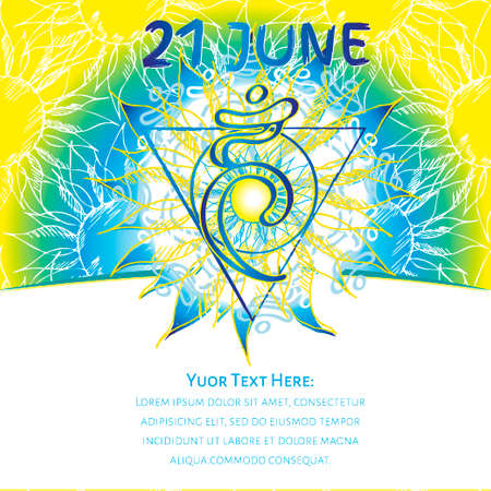 Chakra Vishuddha icon, ayurvedic symbol, flower pattern. 21 june. World yoga Day. International yoga day.