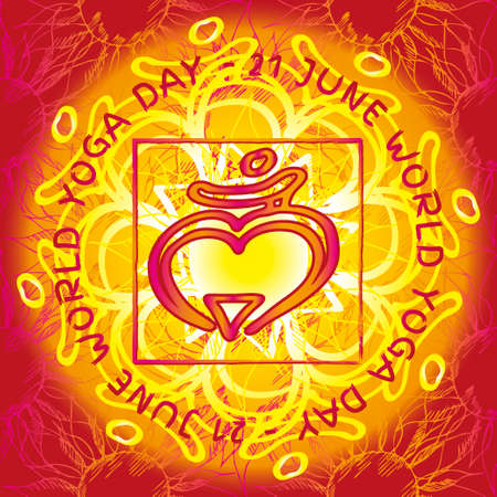 anahata: Chakra Muladhara icon, ayurvedic symbol, flower pattern. 21 june. World yoga Day. International yoga day.
