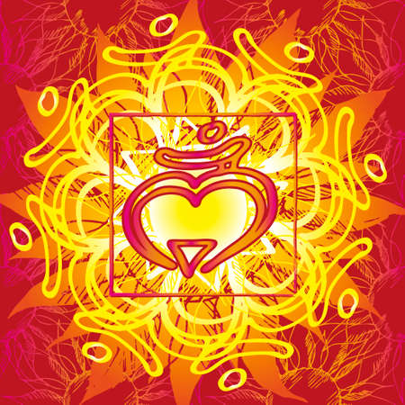 sanskrit: Chakra Muladhara icon, ayurvedic symbol, flower pattern. 21 june. World yoga Day. International yoga day.