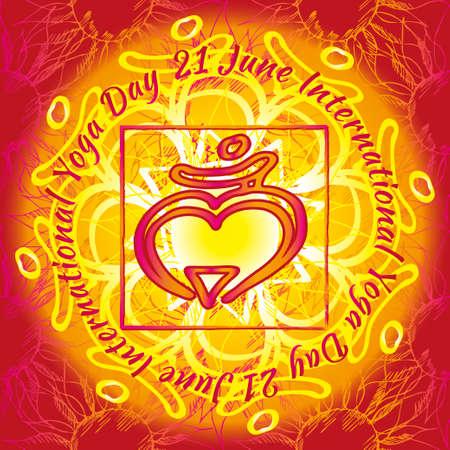 Chakra Muladhara icon, ayurvedic symbol, flower pattern. 21 june. World yoga Day. International yoga day.