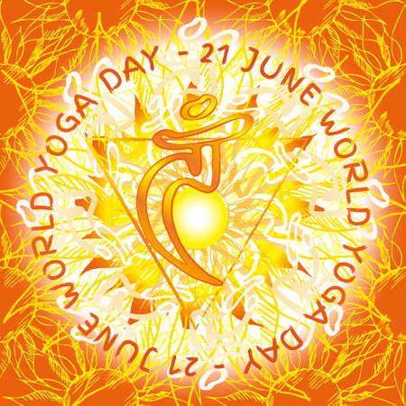 anahata: Chakra Vishuddha icon, ayurvedic symbol, flower pattern. 21 june. World yoga Day. International yoga day.