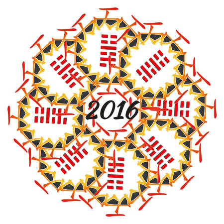 Symbol of 2016 New Year from chinese hieroglyphs. Translation of 12 zodiac feng shui signs hieroglyphs: Sun and Monkey.