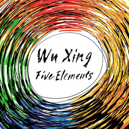 Five Feng Shui Elements Set - Chinese Wu Xing symbols. Translation of chinese hieroglyphs- wood, fire, earth, metal, water. Stock Illustratie