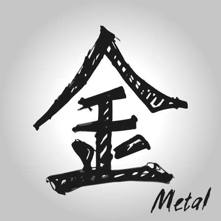 xing: Five Feng Shui Elements Set - Chinese Wu Xing symbols. Translation of chinese hieroglyphs- wood, fire, earth, metal, water. Stock Photo