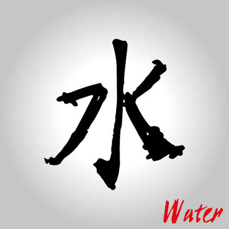 xing: Five Feng Shui Elements Set - Chinese Wu Xing symbols. Translation of chinese hieroglyphs- wood, fire, earth, metal, water. Illustration
