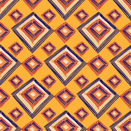 Rectangle mandala hand drawn seamless vector pattern. Geometric romb print in vector pattern. Hand drawn fashion stylish pattern.