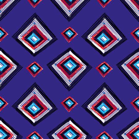 repetition row: Rectangle mandala hand drawn seamless vector pattern. Geometric romb print in vector pattern. Hand drawn fashion stylish pattern.