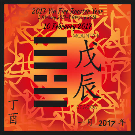 Symbol of i ching hexagram from chinese hieroglyphs. Translation of 12 zodiac feng shui signs hieroglyphs- mountain and dragon. I ching calendar of 2017 year with feng shi elements.