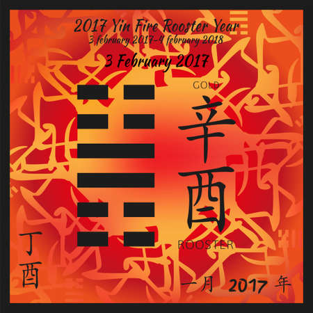 Symbol of i ching hexagram from chinese hieroglyphs. Translation of 12 zodiac feng shui signs hieroglyphs- gold and rooster. I ching calendar of 2017 year with feng shi elements. 版權商用圖片