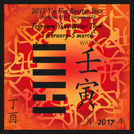 Symbol of i ching hexagram from chinese hieroglyphs. Translation of 12 zodiac feng shui signs hieroglyphs- water and tiger. I ching calendar of 2017 year with feng shi elements. February of 2017 year.