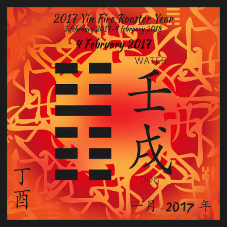 Symbol of i ching hexagram from chinese hieroglyphs. Translation of 12 zodiac feng shui signs hieroglyphs- water and dog. I ching calendar of 2017 year with feng shi elements.