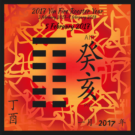 Symbol of i ching hexagram from chinese hieroglyphs. Translation of 12 zodiac feng shui signs hieroglyphs- air and pig. I ching calendar of 2017 year with feng shi elements. 版權商用圖片