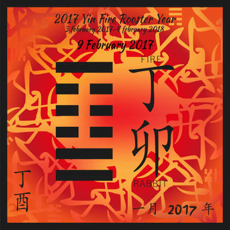 hexagram: Symbol of i ching hexagram from chinese hieroglyphs. Translation of 12 zodiac feng shui signs hieroglyphs- fire and rabbit. I ching calendar of 2017 year with feng shi elements.
