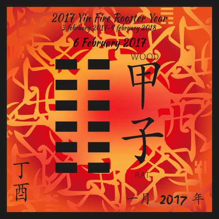 Symbol of i ching hexagram from chinese hieroglyphs. Translation of 12 zodiac feng shui signs hieroglyphs- water and rat. I ching calendar of 2017 year with feng shi elements. 版權商用圖片