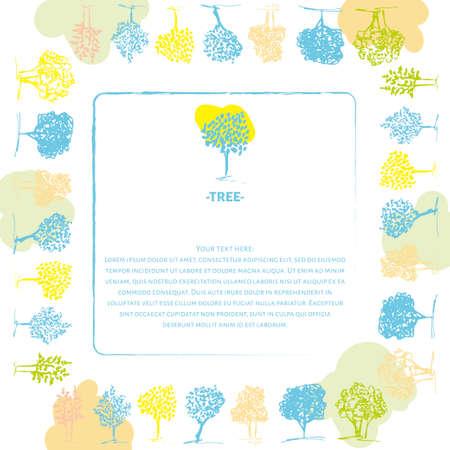 primavera: Spring colors tree design. Hand drawn trees set.