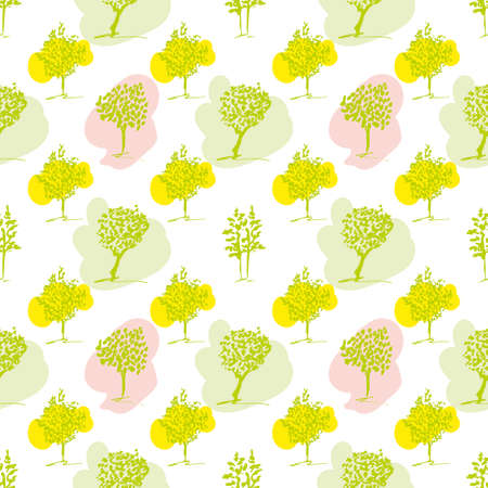 primavera: Seamless pattern. Spring colors tree backgraund. Hand drawn trees set.