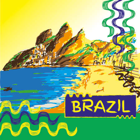 Brazilian hand drawn sketch. Ipanema style concept