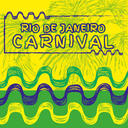 skecth: Vector illustration. Hand drawn  composition of Brazil Carnival. Ipanema beach pattern.