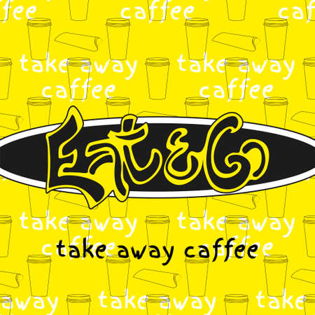 caffe: Food hand drawn sign logo template. Vector logo and pattern. Take away caffe design.