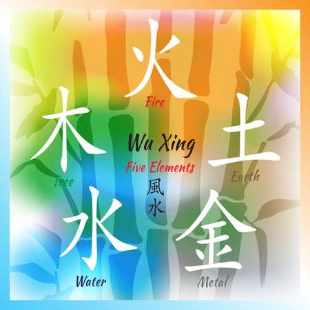 Cinq Feng Shui Elements Set - symboles Wu Xing chinois. Traduction de bois chinois hieroglyphs-, feu, terre, métal, eau. Banque d'images - 73885726