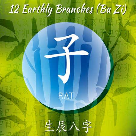 Set of chinese feng shui hieroglyphs. Translation of 12 zodiac animals, feng shui signs hieroglyph- Rat, Ox, Tiger, Rabbit, Dragon, Snake, Horse, Goat, Monkey, Rooster, Dog, Pig. Bamboo backgraund.