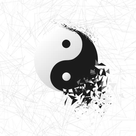 chi: Tai chi explosion. Vector yin yang symbol. Stock Photo