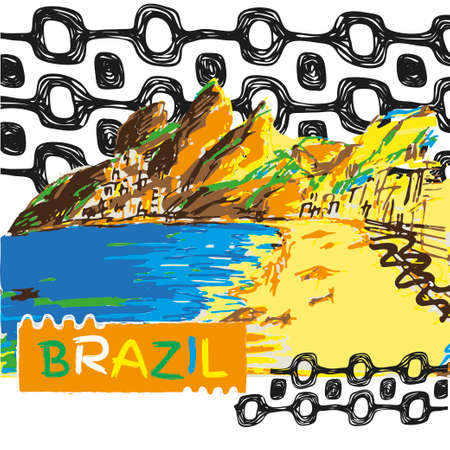 janeiro: Brazilian hand drawn sketch. Ipanema style concept and logo.