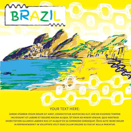 Brazilian hand drawn sketch. Ipanema style concept and logo.